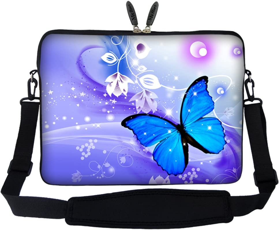 Meffort Inc 15 15.6 inch Neoprene Laptop Sleeve Bag Carrying Case with Hidden Handle and Adjustable Shoulder Strap - Blue Purple Butterfly