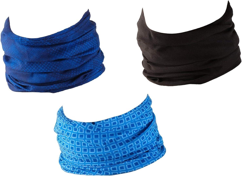 Bufanda de Tubo Bandana//Conjunto de 3 piezas con Dise/ños de Moda Hilltop 3 x Braga de Cuello para Motociclismo Multifuncional Cuello Deportivo