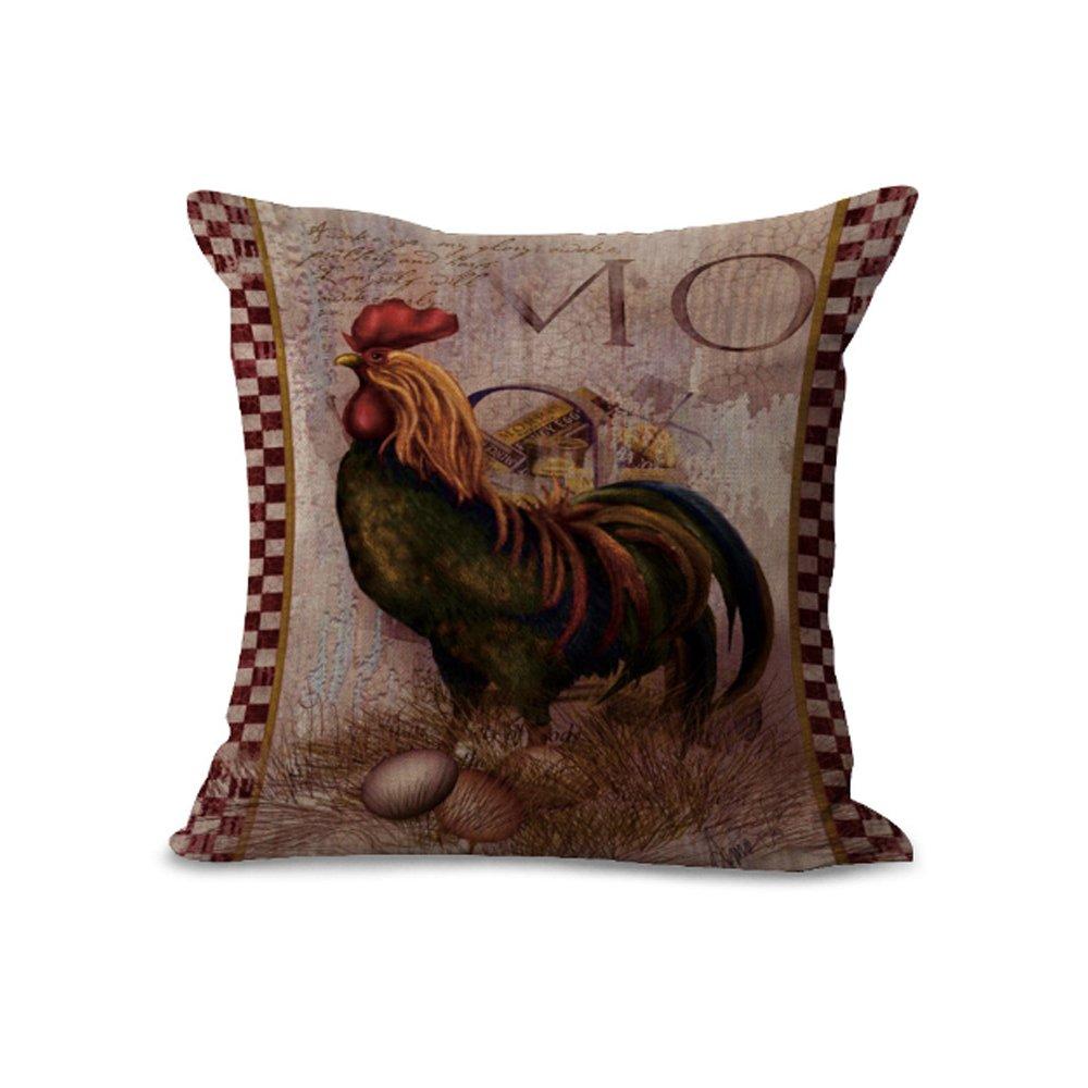 Copricuscino - MY-A1088-01 - stile retro - con stampa a forma di gallo - per decorare divani, casa, negozi, locali, bar - 45 cm x 45cm - colore: grigio #01 Hengjiang