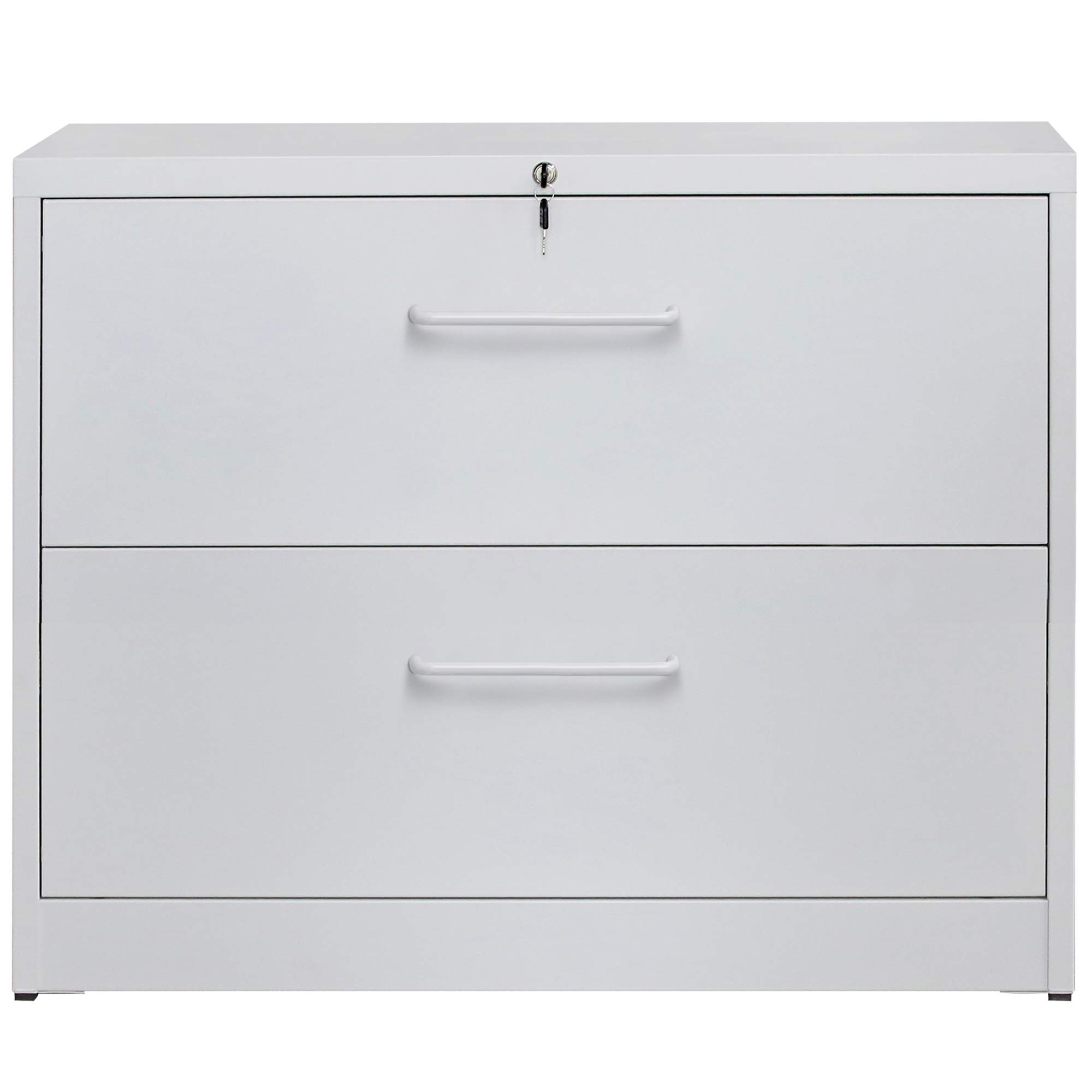 2 Drawers Lateral File Cabinet with Lock, Locking Fireproof Metal Filing Cabinet for Home and Office, White by ModernLuxe