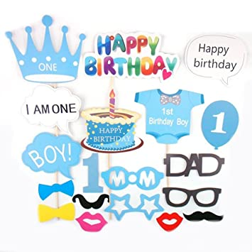 Losuya Baby Boy 1st Birthday Party Photo Booth Props Baby Shower Photobooth  Props Blue Kit 25pcs