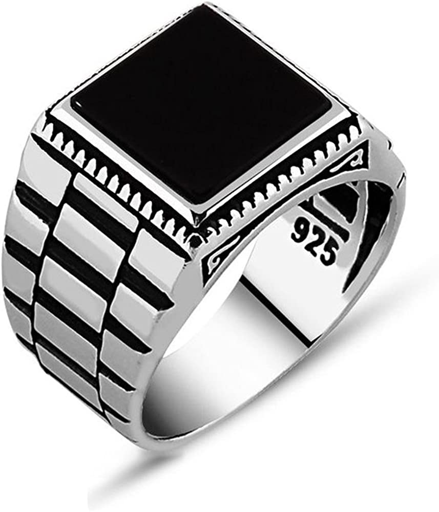 chimoda Mens Solitaire Silver Rings 925 Sterling Men's Jewelry with Black Onyx Stone