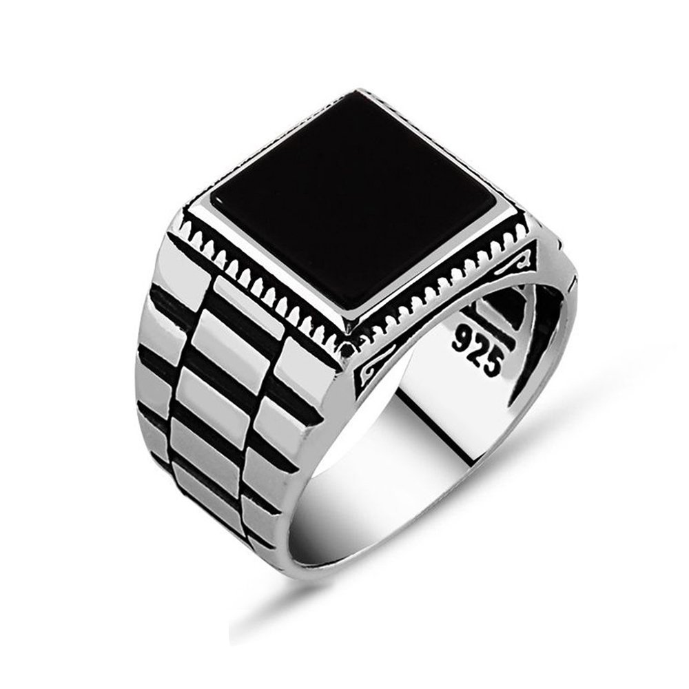 Chimoda Mens Solitaire Silver Ring Watch Design 925 Sterling with Black Onyx Stone (9)