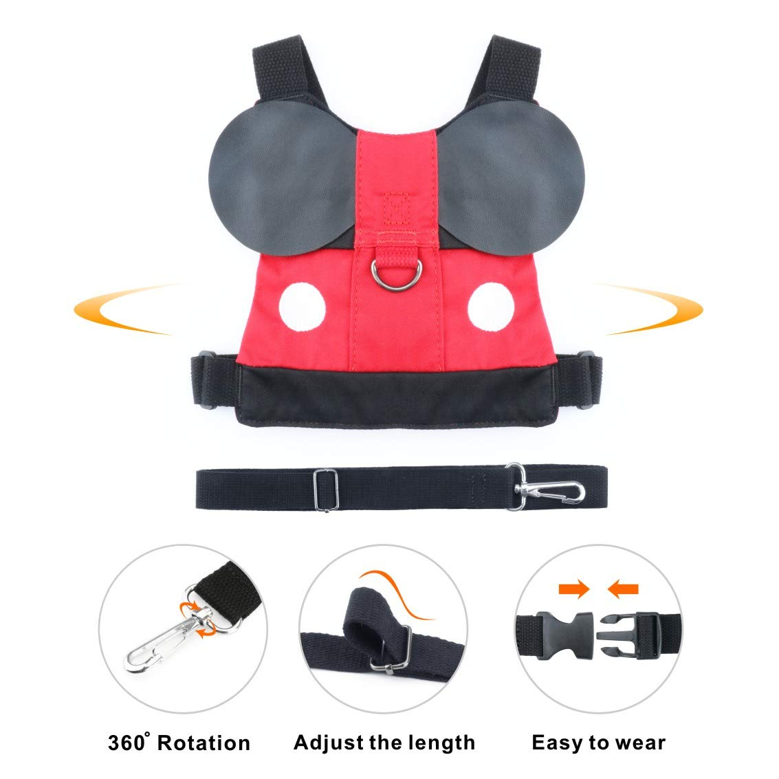 Idefair Kids Harness Kids Walking Leash Safety,Baby Anti Lost Safety Harness,Toddler Harness Safety Leashes for 1-5 Years Old Boys and Girls - Red by Idefair (Image #5)