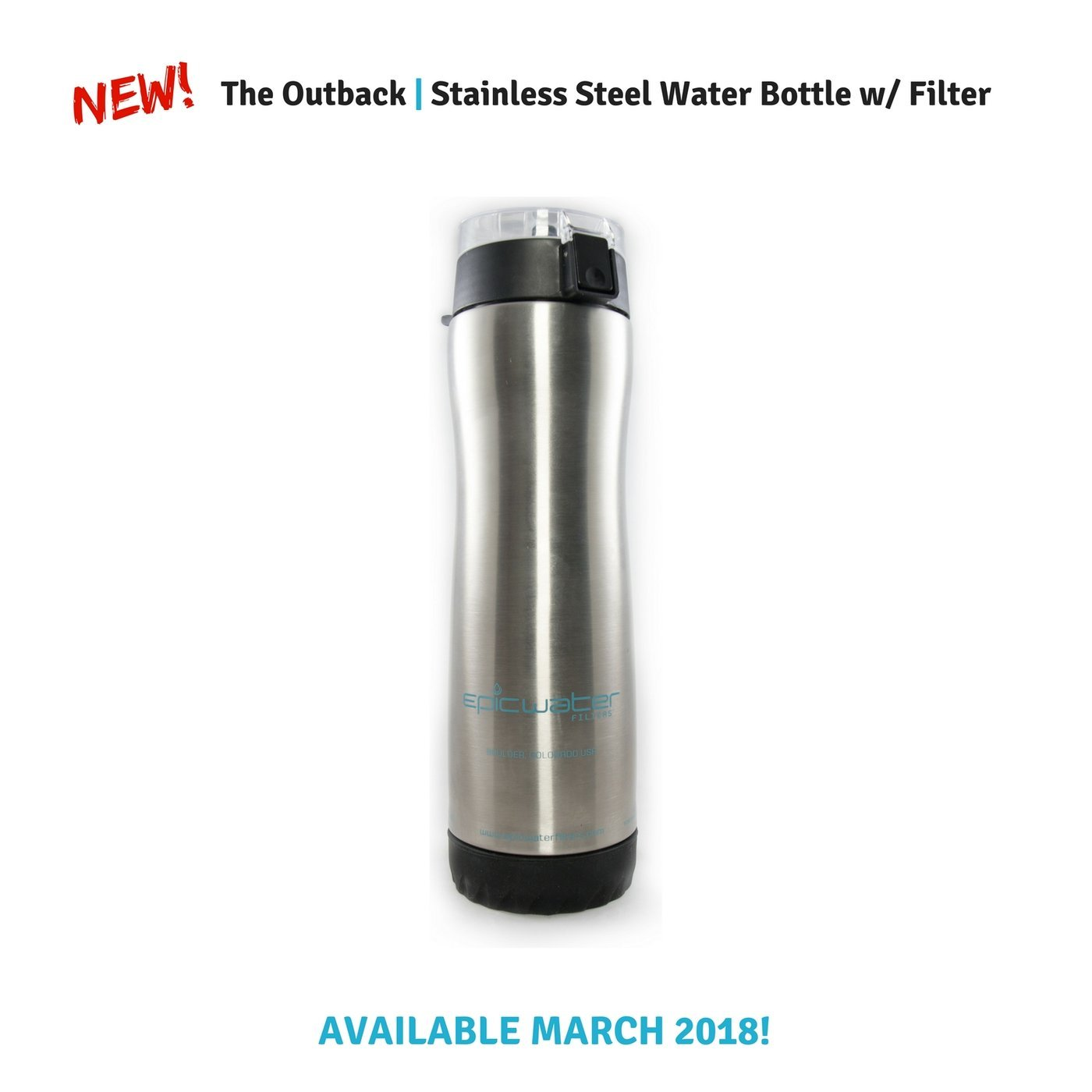 Epic Stainless Steel Water Filtration Bottle with 1 Everyday Filter | Removes Lead, Arsenic, Fluoride TTHM, PFOA/PFOS and 65+ More Tap Water Contaminants | 800mL | Silver Epic Life Inc.