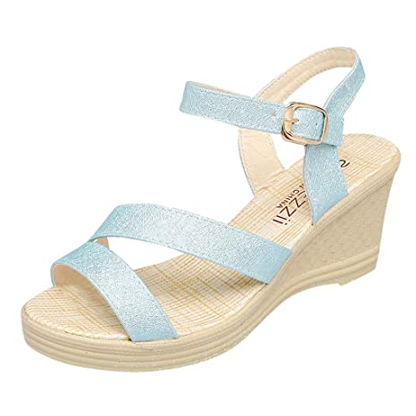 Makefortune 2019 Sandalen Damen Sommer, Frauen Keil Schuhe