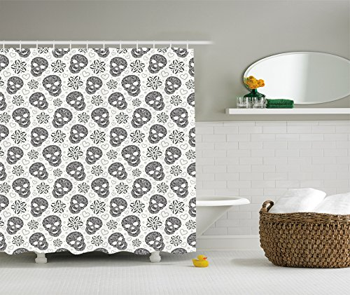 Ambesonne Skull Shower Curtain Set, Abstract Floral Sugar Skulls and Daisies Hearts Art Print, Fabric Bathroom Decor, with Hooks, 84 inches Extra Long, Black and ()