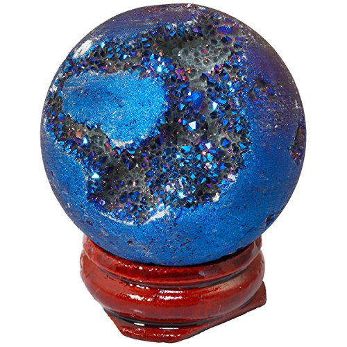 SUNYIK Blue Titanium Coated Druzy Geode Sphere Ball,Crystal Quartz Agate Gemstone Ball,Sculpture Figurine Healing