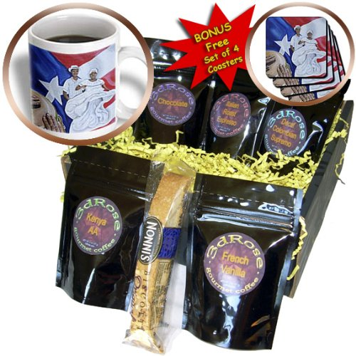 Melissa A. Torres Art Puerto Rico - A couple of Bomba dancers, a conga, and Puerto Rican flag as background - Coffee Gift Baskets - Coffee Gift Basket (cgb_160389_1)