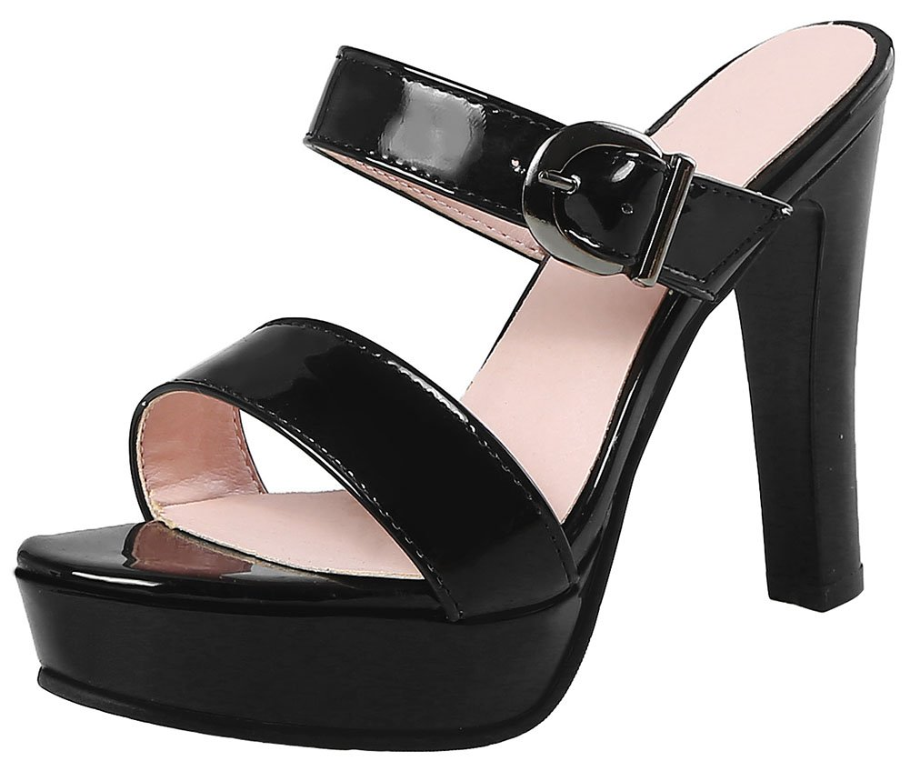 Mofri Women's Fashion Buckle Strap Open Toe Sandals Platform Chunky High Heels Slide on Mules Shoes (Black, 6.5 B(M) US)
