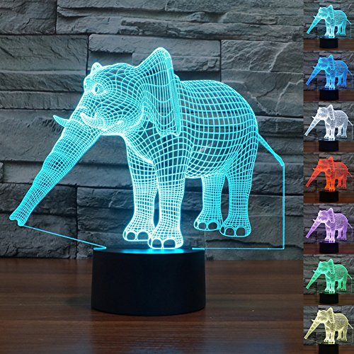 Echodream Christmas Gift Magic Elephant Lamp 3D Illusion 7 Colours Touch Switch USB Insert LED Light Birthday Present and Party Decoration