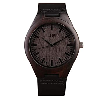 Custom Engraved Wooden Watch With Black Leather Band Groomsmen Gifts Anniversary For Men Personalized
