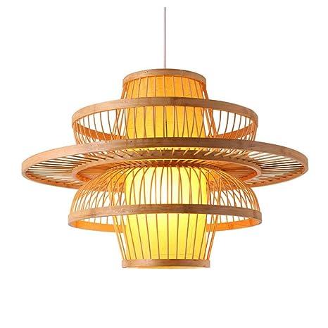 NIUZIMU Led lámpara de Techo de bambú Hecho a Mano luz de la ...