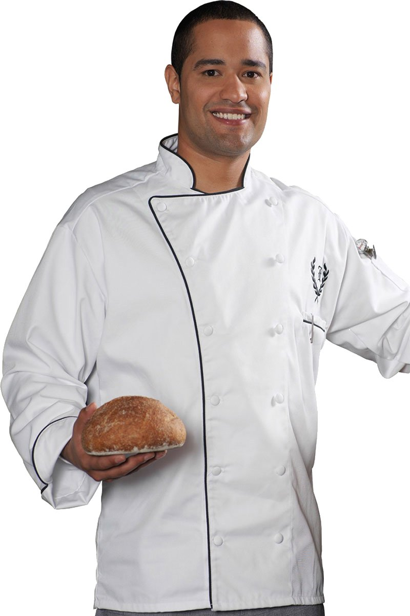 Edwards Garment Full Cut 12 Cloth Covered Button Chef Coat_WHITE_XXX-Large
