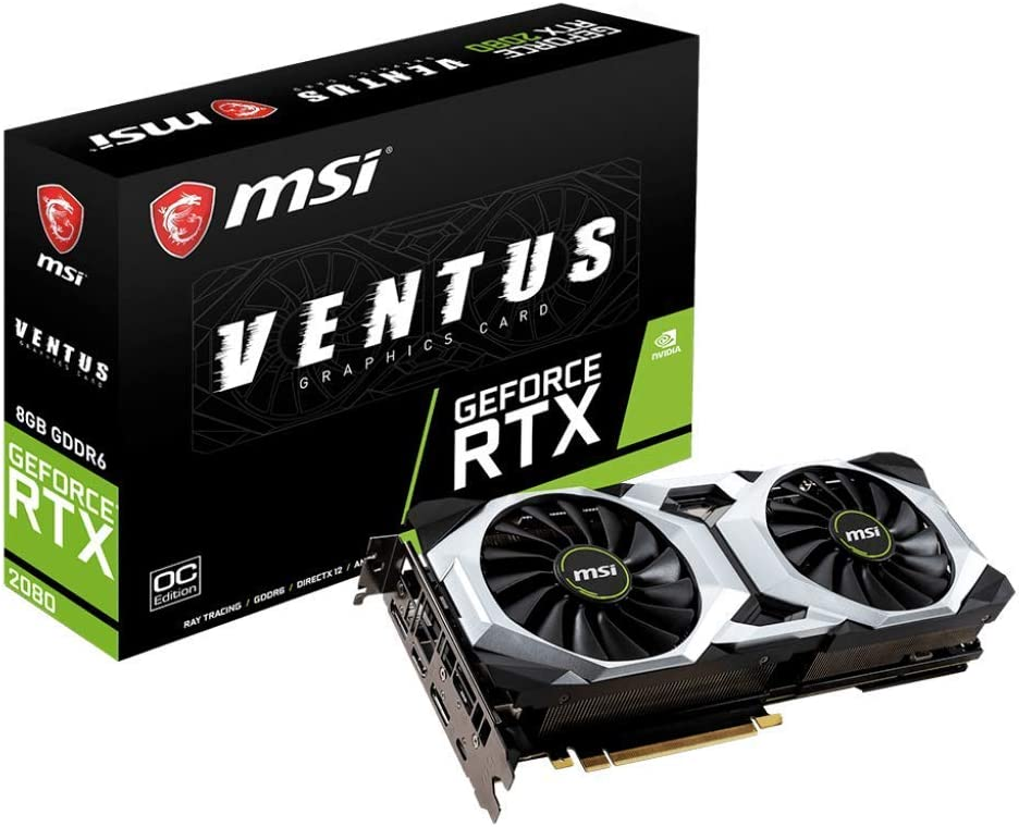 MSI Gaming GeForce RTX 2080 8GB GDRR6 256-bit HDMI/DP/USB Ray Tracing Turing Architecture Graphics Card (RTX 2080 Ventus 8G OC) (Renewed)