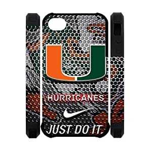 NCAA Miami Hurricanes Team Logo Case Cover For Apple Iphone 5/5S Inch) Dual-protective Polymer Case Cover Attractive Customized Unique JUST DO IT Phone Case at Big-dream