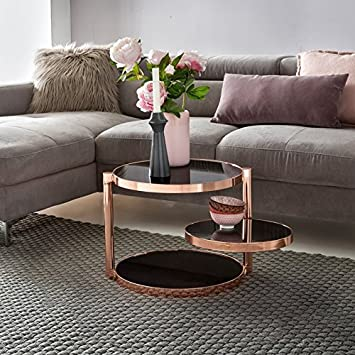 Table Basse Design en Verre métal ø 45 cm Noir Cuivre   Table Basse Trois fa370de93196