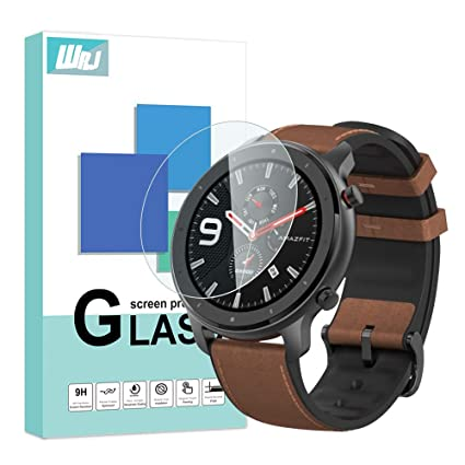 [4-Pack] WRJ Screen Protector for Amazfit GTR 47mm, HD Anti-Scratch Anti-Fingerprint No-Bubble 9H Hardness Tempered Glass with Lifetime Replacement ...
