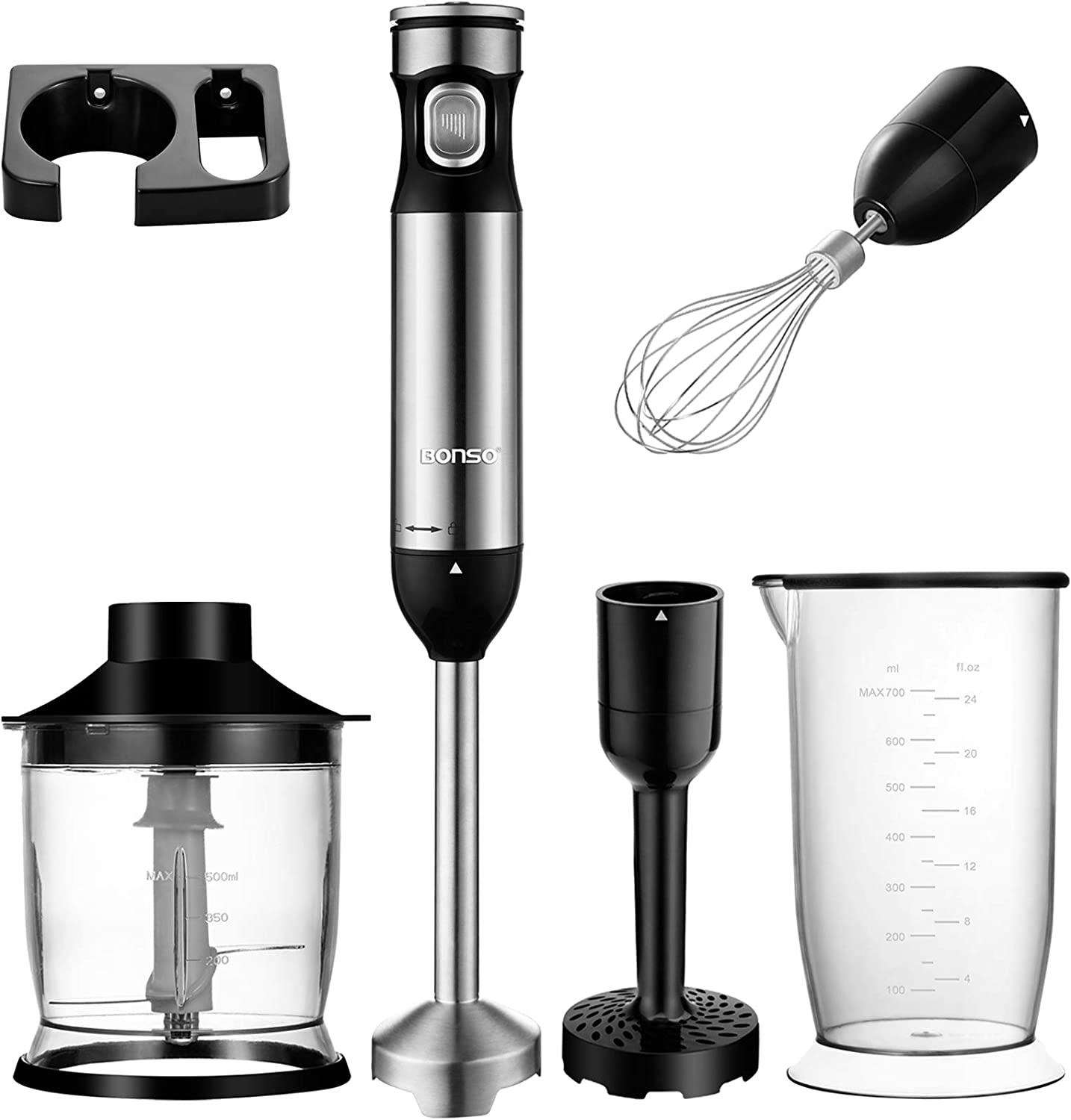 BONSO Immersion Hand Blender Electric, 6-in-1 Multipurpose Immersion Blender Handheld, 300W Powerful Stick Blender with Whisk, Chopper, Masher, 700ml Container & Wall Rack