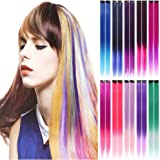 20 PCS Colored Clip in Hair Extension 22 Inch Synthetic Hairpieces Colored for Kids Colorful Hair Extension Straight Highlights Colored Hairpieces (10 gradient colors)