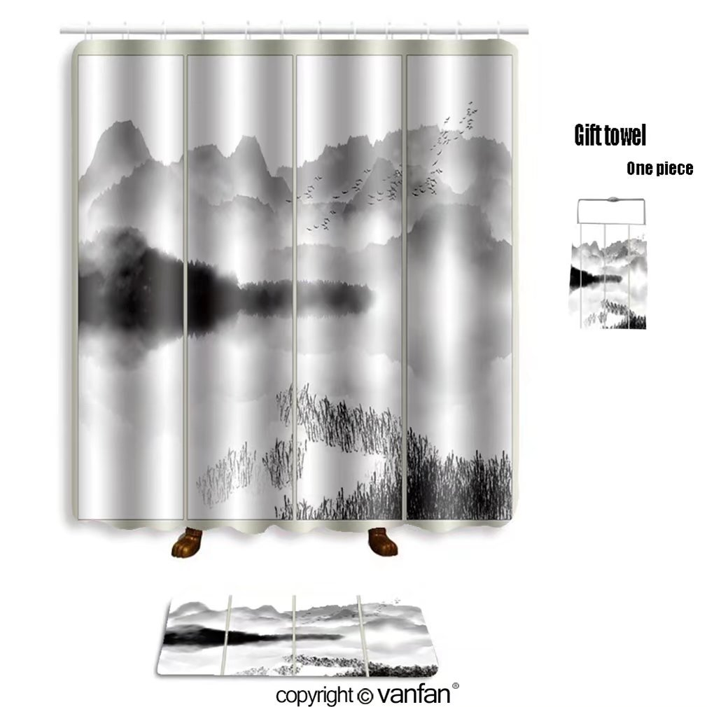 vanfan bath sets with Polyester rugs and shower curtain chinese ink landscape painting 556853602 shower curtains sets bathroom 69 x 90 inches&31.5 x 19.7 inches(Free 1 towel and 12 hooks)