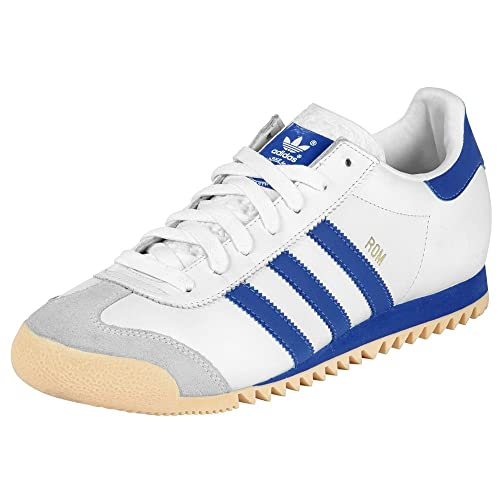 55c2c96484903d Adidas Originals Rom Leather White Trainers Blue Stripes Mens Size 9 ...
