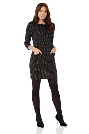 1ea1a5837fc0 Roman Originals Women Spot Pocket Detail Dress - Ladies Smart Casual  Workwear Office Knee Length 3 4 Sleeves Everyday Polka Dot Pocket Tunic  Dresses Autumn ...