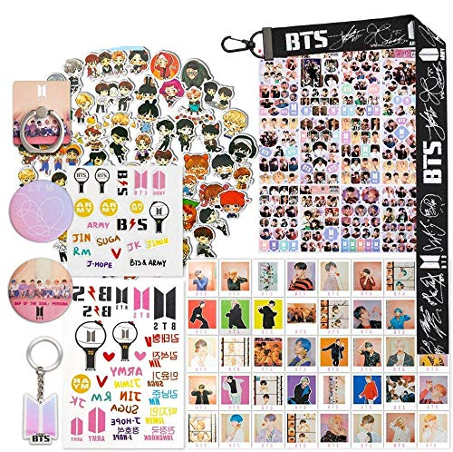 Fans Gift Sticker Sets, Including 63 Pack Stickers, 40 Postcards, 12 Sheet Stickers, 2 Tatoo Stickers, 2 Button Pins, 1 Lanyard Keychain/Phone Ring/Keychain / 3D Stickers                BTS Blanket Army Warm Hugs Ultra Soft Throws Lightweight Couch Sofa Office Fuzzy Blanket forTraveling Camping Home                NANAFANS Koop GOT7 Gifts Set for I GOT7 - 32Pcs GOT7 Lomo Cards | 12 Sheet GOT7 Stickers | 10 Pack GOT7 Button Pins | 1PCS GOT7 Necklace Lanyard | 1PCS Tattoo Stickers                Kpop Shirt K-pop Merchandise Korean Drama Gifts Kdrama Merch T-Shirt                Women Kpop Exo Cartoon Socks 7-pack