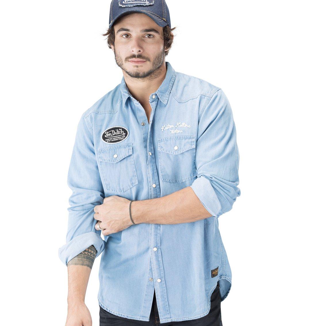 e403905c2b0ec Von Dutch Vondutch - Chemise Homme Brad Bleu  Amazon.fr  Vêtements et  accessoires