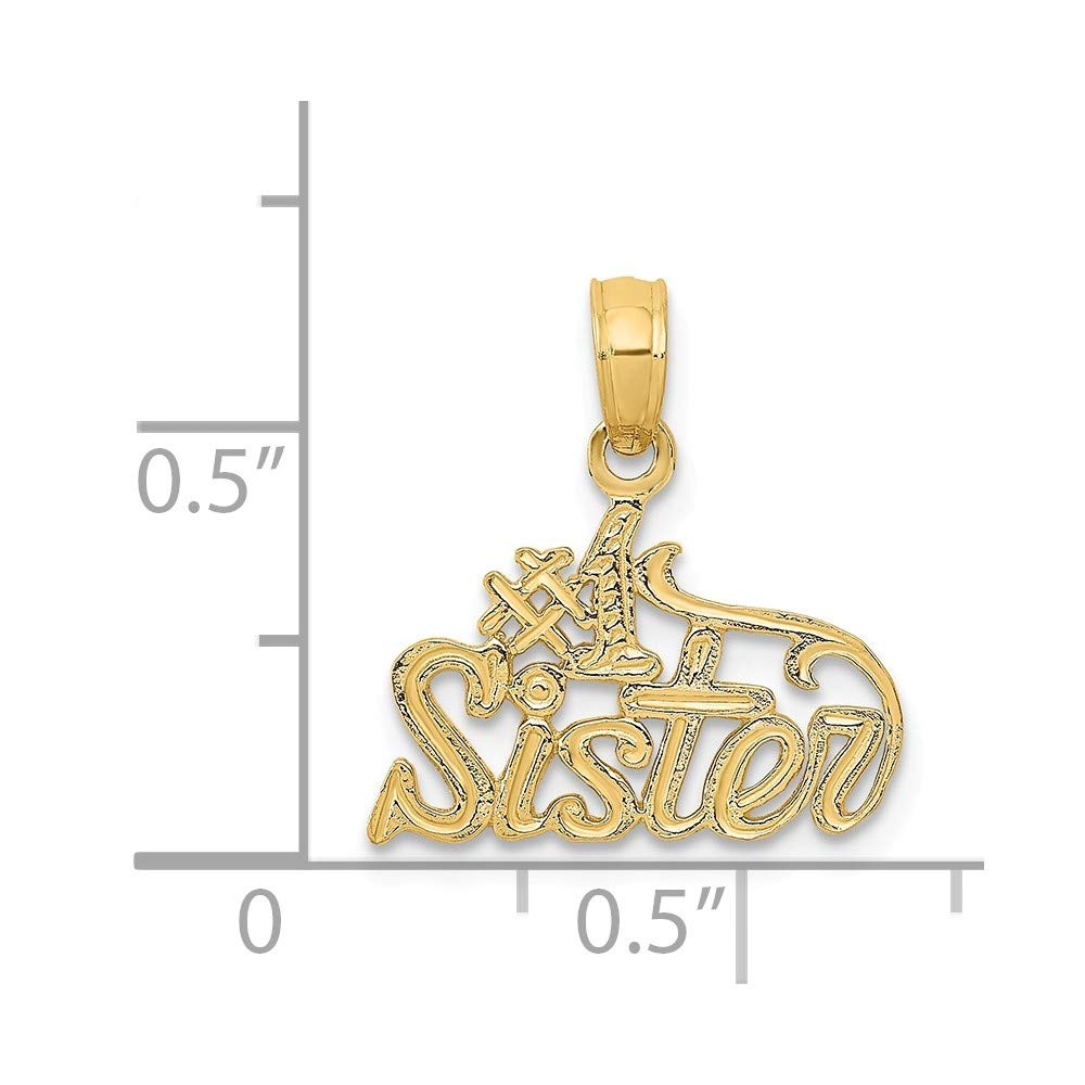 15mm x 16mm Solid 14k Yellow Gold #1 Sister Pendant