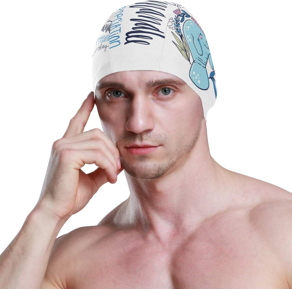 ALINLO Swim Caps Lovely Funny Cartoon Mermaid Dolphin Flower Swimming Cap Hat Waterproof Bathing Shower Hair Cover for Adult Men Women Youth Girls Boys