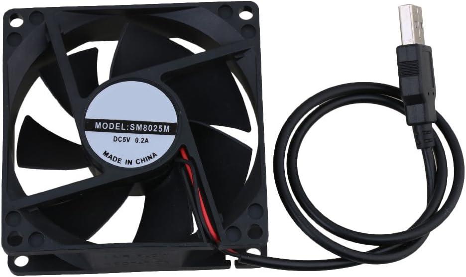 5V Negro 8CM 8025 USB Poder silencioso Rodamiento de bolas Caja de la computadora Ventilador de refrigeración para el caso de la computadora CPU Cooler
