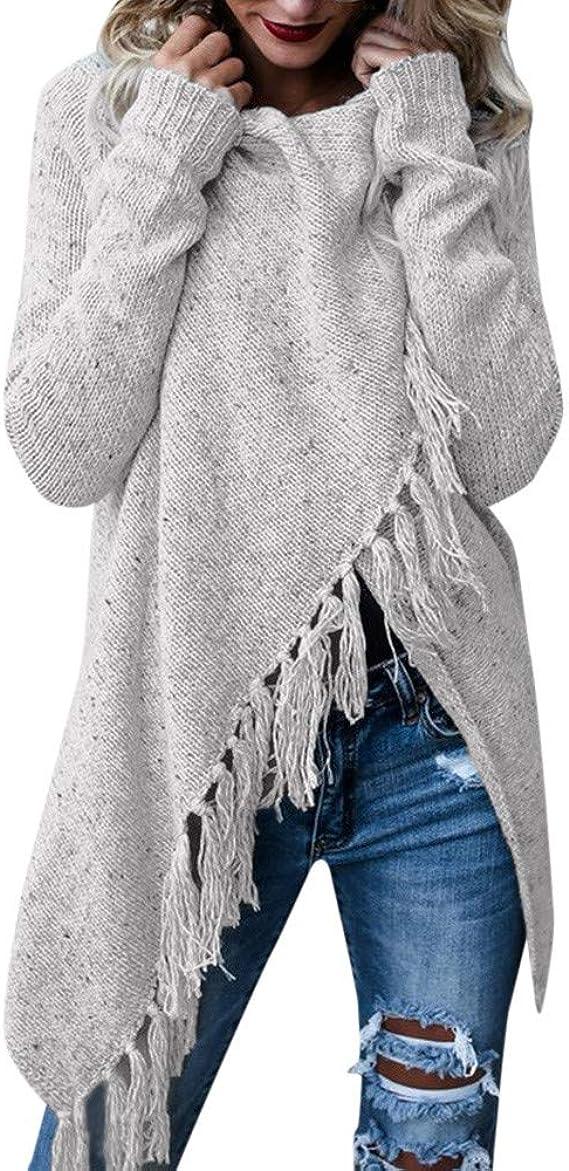 Damen Strickpullover Poncho Wollpullover Strickjacke Cardigan Longshirt Grau