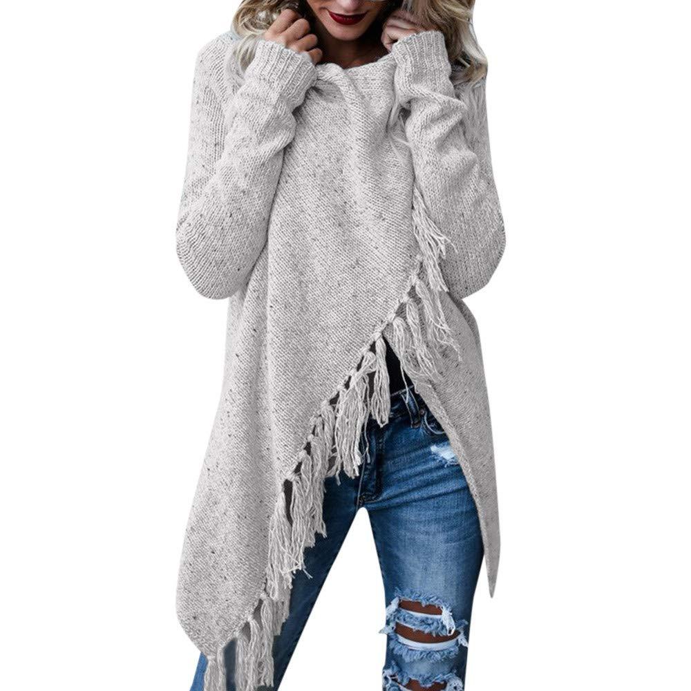 COPPEN Women Blouse Women Stripes Poncho Fall Tassels Slash Gradient Shawl Hem Fringe Loose Sweater