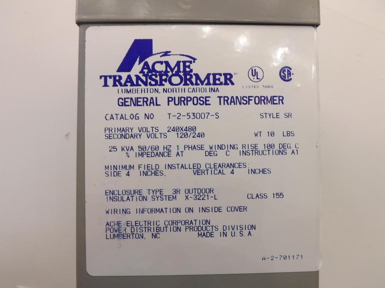 Hubbell Acme Electric T253007S Low Voltage Distribution Transformer ...