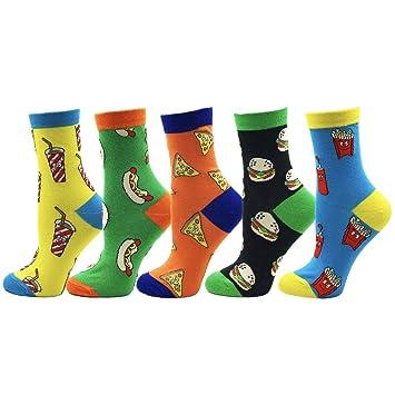 FHCGWZ 5 unids/Set Calcetines de los Hombres y de Las Mujeres algodón de Aguja Hip Hop Alimentos Happy Harajuku calcetín Divertido: Amazon.es: Deportes y ...