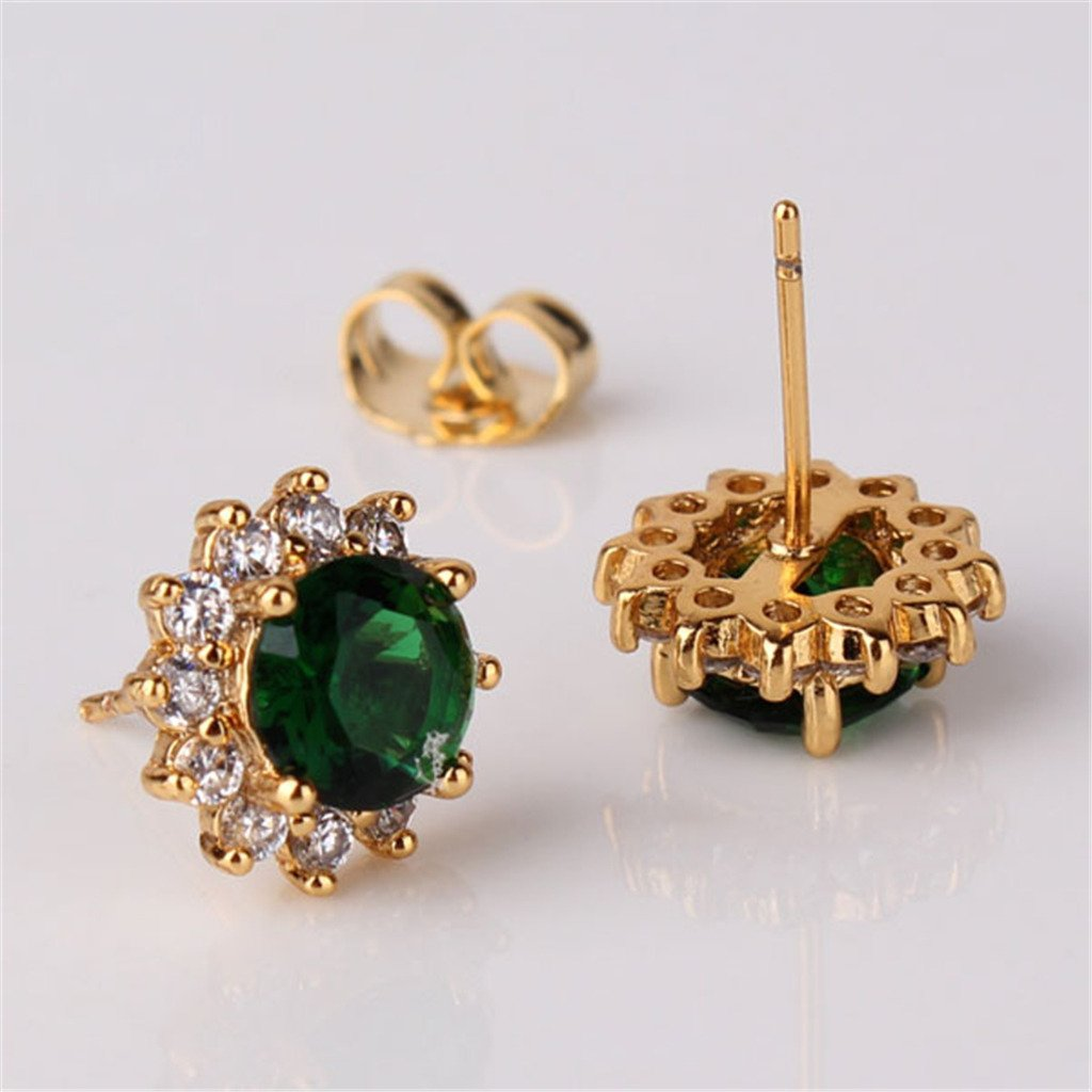 GULICX Yellow Gold Electroplated Zircon Crystal Round Star Stud Pierced Earrings Green Emerald Color