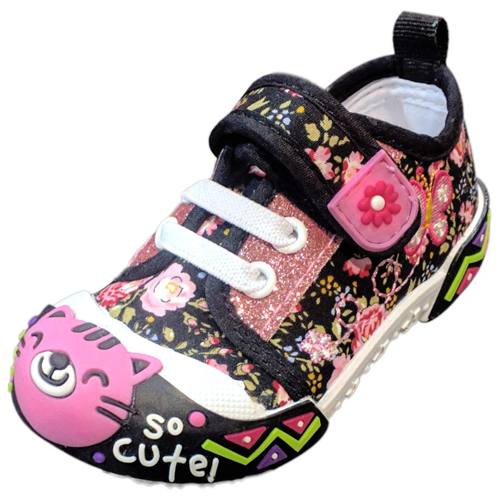 Best Colored Back to School Black Sneakers for Toddler Girls Cute Kitty Cat Bumper Toe No Lights Strap Slipon Lightweight Walking Running Supplies Kids Sketchers Shoes Sale 2018 (Size 3, Black)