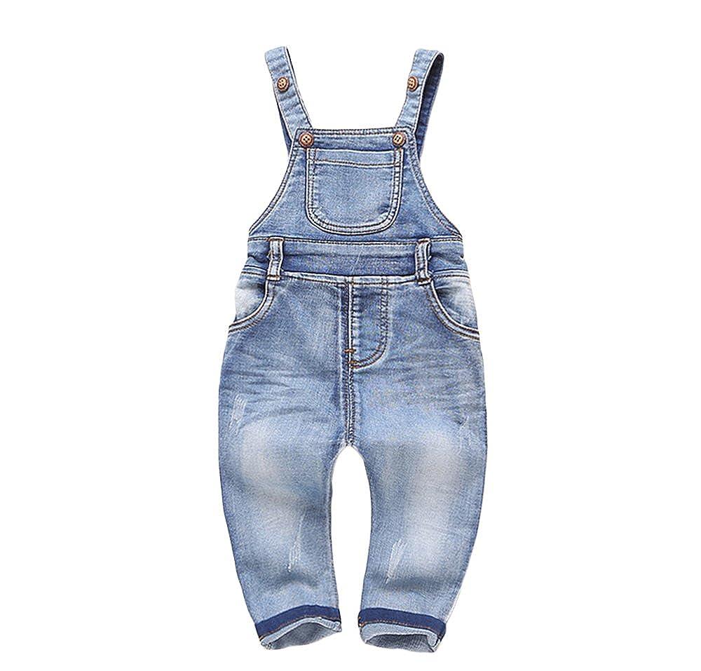Kidscool Baby /& Little Boys//Girls Plaid Fodera Denim Salopette Jeans
