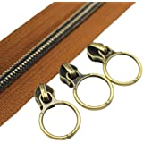 (anti-brass brown) - YaHoGa 5 Antique Brass Metallic Nylon Coil Zippers By The Yard Bulk 10 Yards Brown Tape With 20pcs Copper Sliders for DIY Sewing Tailor Craft Bag (Anti-Brass Brown)