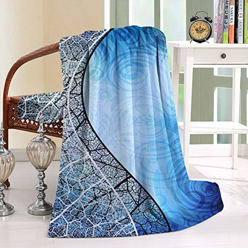HAIXIA Blanket Psychedelic Twisted Tree Branches with Ornate Spiral Lines Graphic Blue (Baltimore Ravens Spiral)
