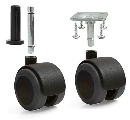 Design61 – Juego de 4 ruedas para muebles universal con freno Ruedecillas ruedas con tope para