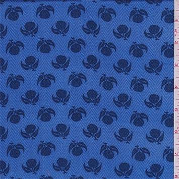 Blue Clover Print Herringbone Rayon Challis, tela por el patio