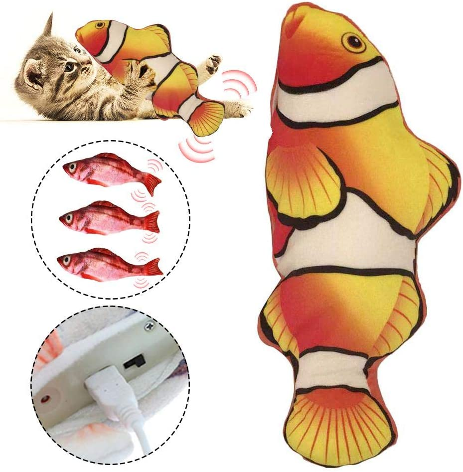 USB Electric Funny Interactive Pets Chew Bite Supplies for Cat//Kitty//Kitten Fish Flop Cat Toy expert Explea Realistic Plush Simulation Electric Doll Wagging Dancing Fish