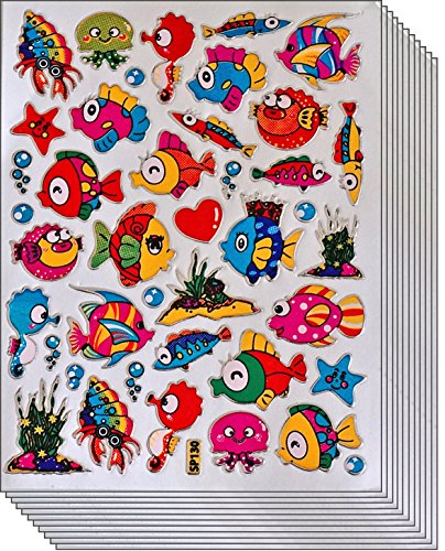 Jazzstick 300 Glitter Fish Scrapbook Decal Stickers Value Pack 10 sheets 09A08 -