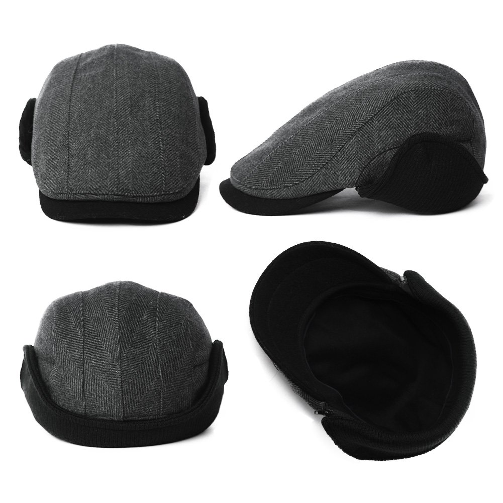 Mens Winter Wool Newsboy Cap Fitted Ivy Flat Cap Cold Weather Hats Lined SIGGI