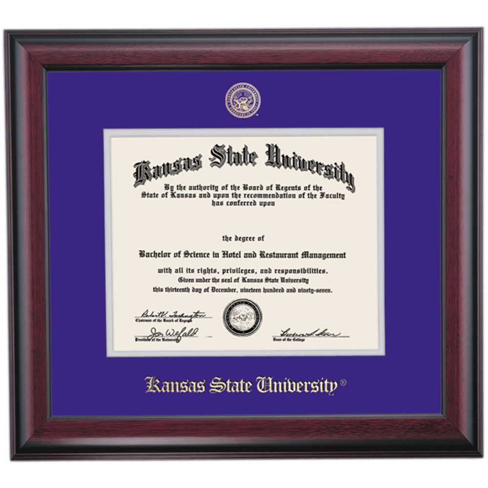 Kansas State Wildcats Diploma Frame Purple Silver Matting Embossed Seal by Campus Linens