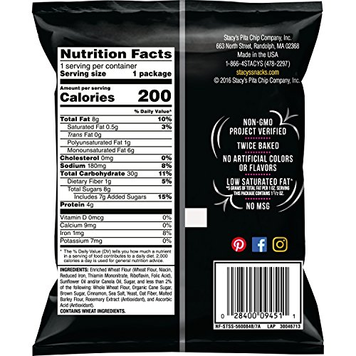 Stacy's Cinnamon Sugar Flavored Pita Chips, 1.5 Ounce (Pack of 24)