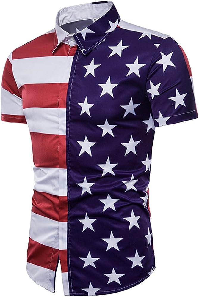 BaronHong para Hombre, Rayas, Medias, Medias Estrellas, Bandera de Estados Unidos impresión 3D, Manga Corta, botón, Abajo, Polo, Camisa (Blanco, M): Amazon.es: Ropa y accesorios