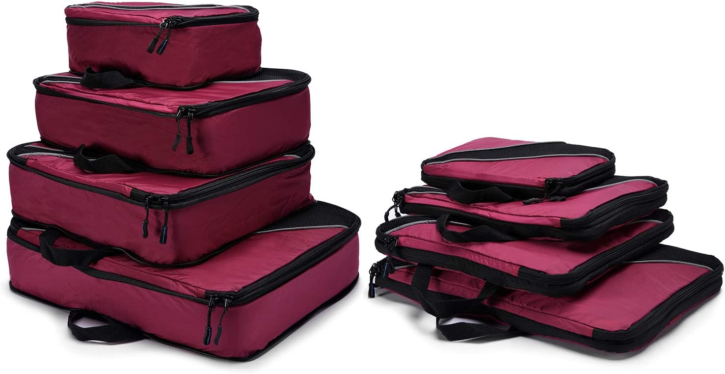 4 Set Packing Cubes, Luggage Sets Cube Organizer for Travel Suitcases with Laundry Bag